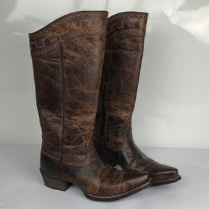 "Ariat Sahara Zip Brown Leather 15"" Embroidered"